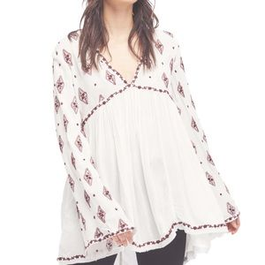 Free People | Embroidered Bell Sleeve Tunic S